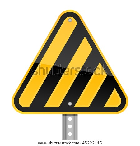 Hazard yellow road warning sign with warning stripes symbol on a white background