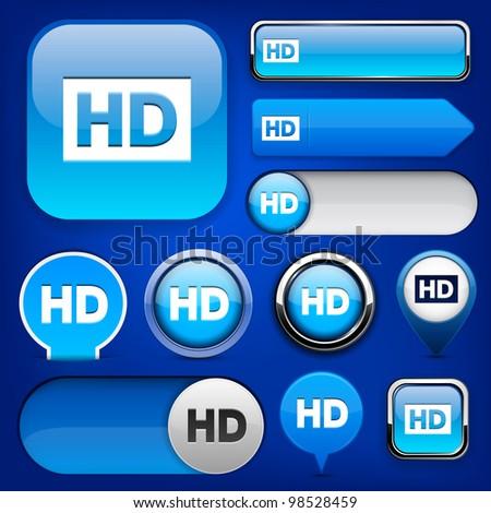HD blue design elements for website or app. Vector eps10.