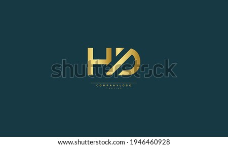 HD H AND D Abstract initial monogram letter alphabet logo design Stock fotó ©