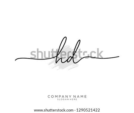 HD H D Initial handwriting logo template Stock fotó ©