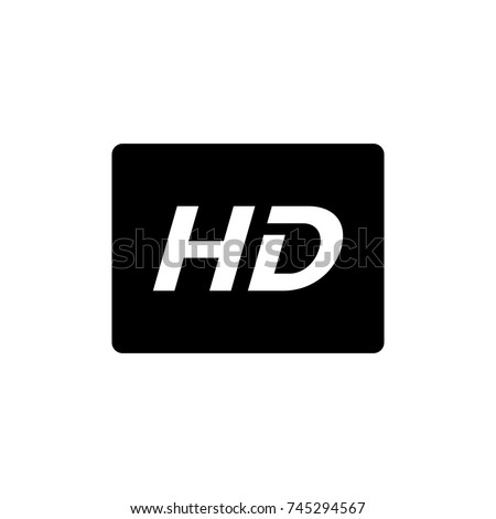 Shutterstock HD icon,HD icon vector, in trendy flat style isolated on white background.HD icon image,HD icon illustration