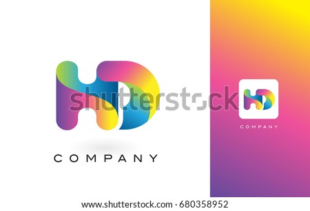 Shutterstock HD Logo Letter With Rainbow Vibrant Colors. Colorful Modern Trendy Purple and Magenta Letters Vector Illustration.
