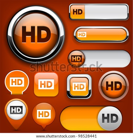 HD orange design elements for website or app. Vector eps10.