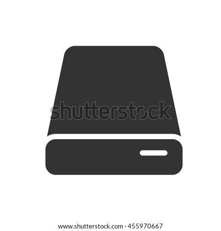 HDD icon. Simple flat logo of hard drive disk isolated on white background. Vector illustration.