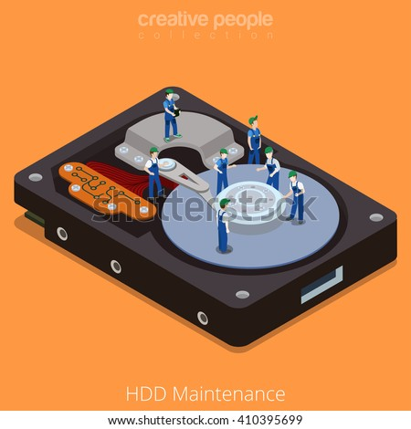 HDD Maintenance process. 3d isometric style technology computer hardware concept vector illustration. Micro cartoon men on big hard disk drive open cover.