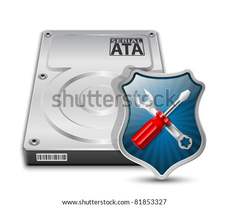 HDD Repair Icon. Vector Illustration