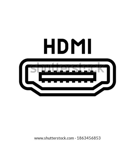 hdmi port line icon vector. hdmi port sign. isolated contour symbol black illustration