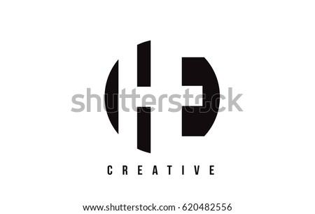 he h e white letter logo design