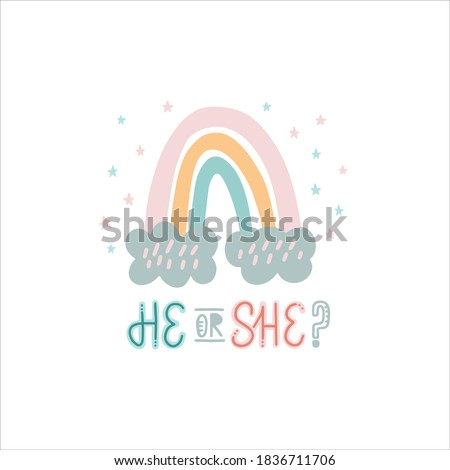 He Or She? Gender Reveal Party illustration and lettering Photo stock ©