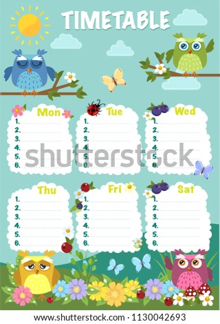 he timetable is the schedule of lessons in the school. Summer, sunny day, flowers, berries, mushrooms and owls.