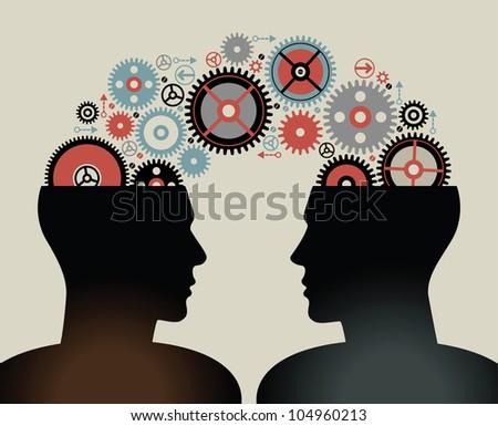 Head and Brain Gears in Progress. - stock vector