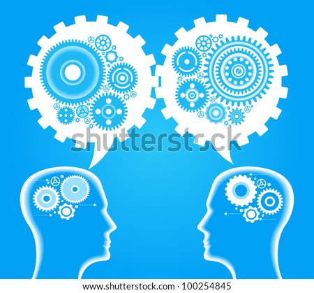 Head and brain gears in progress. concept of human thinking and teamwork