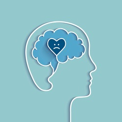 Head and brain outline with sad heart. Sadness, depression, feeling depressed and related negative emotions concept. Vector illustration with blue colors.