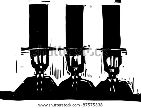 Head and shoulders of three man in top hats.