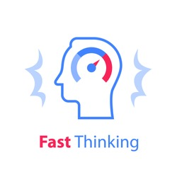 Head and speedometer, outline design, growth mindset, potential development, fast self improvement, soft skills training, boost efficiency, fast decision making, vector line icon