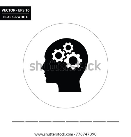 Head and three cogs black and white glyph flat icon. Vector Illustration.