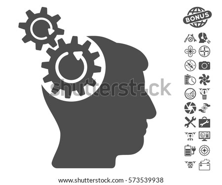 Head Cogs Rotation icon with bonus nanocopter tools clip art. Vector illustration style is flat iconic symbols on white background.