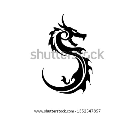 head dragon flat color logo
