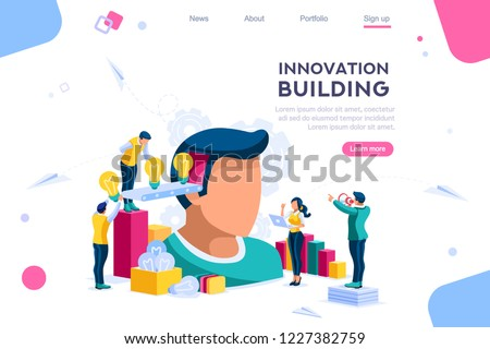 Head filled of ideas and thinks for analysis. Conceptual application for partnership innovation to joint companies. Graphic with persons in contemplation of abstract success and career data. Vector.