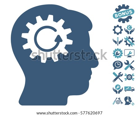 Head Gear Rotation pictograph with bonus options pictures. Vector illustration style is flat iconic cyan and blue symbols on white background.