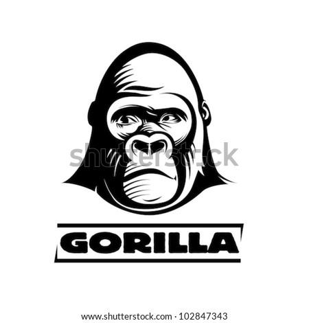 head gorilla  engraving style