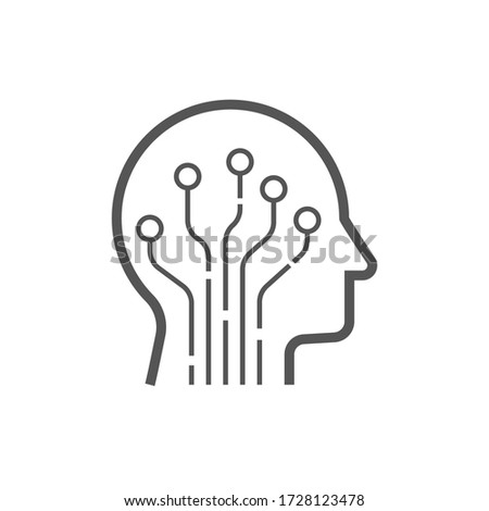 Head human smart technology logo vector. Brain human artificial logo type, icon vector, smart tech logo vector. AI concept logo. EPS 10