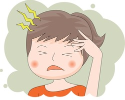 head hurts Afflicted Female upper body illustration.