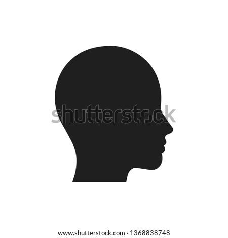 Head icon. Black silhouette of the profile. Vector illustration. Flat design.