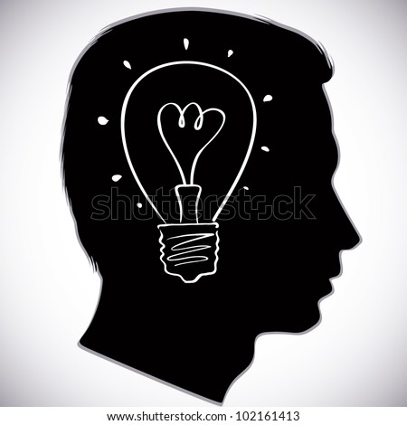 Head icon with idea bulb symbol, vector illustration. - stock vector