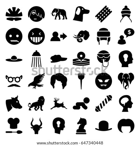 head icons set set of 36 head