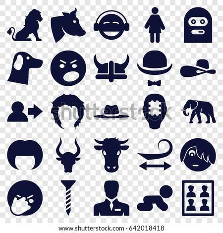 head icons set set of 25 head