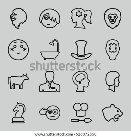 head icons set set of 16 head