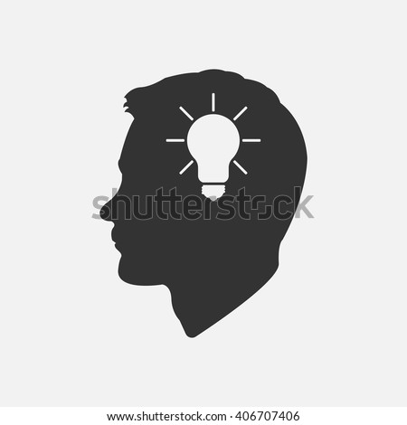 Head idea icon vector, solid illustration, pictogram isolated on white