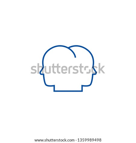 Head in head line icon concept. Head in head flat  vector symbol, sign, outline illustration.