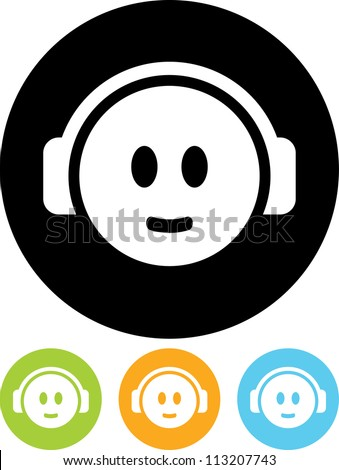 Head in Headphones - Vector icon isolated