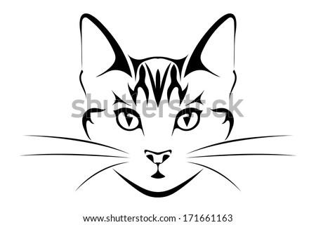 Head is black cat, tattoo. Vector