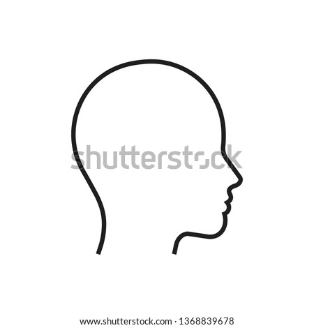 Head line silhouette. Profile contour. Vector illustration. Foto stock ©