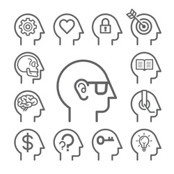 Head line thinking concept icons set. Vector illustration.