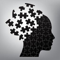 head man puzzles strategy. vector illustration