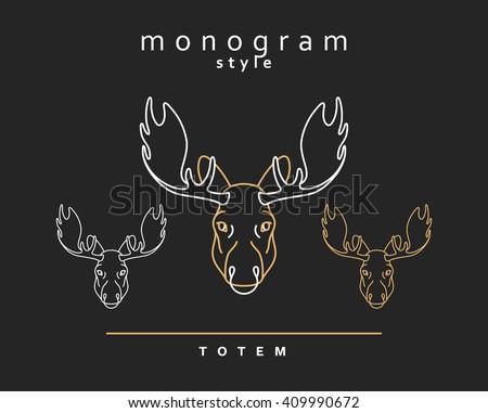 Head moose. Totem moose. Sketch of moose, elk. Wild animals. Emblem vector. Christmas deer. Forest animals. Elk horns. The head of a caribou