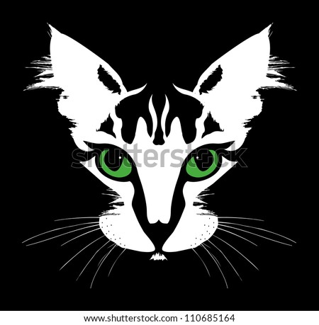 Head of a cat with green eyes. Vector
