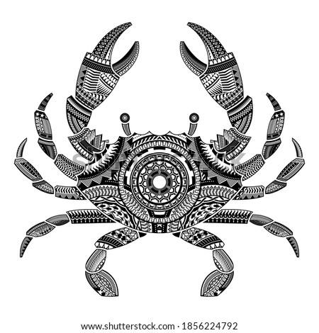 Head of a crab tattoo ornamented with Maori style elements. vector illustration. Stock foto ©