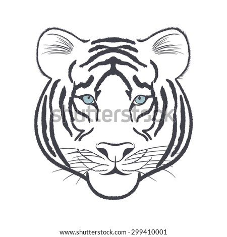 head of a white tiger on a
