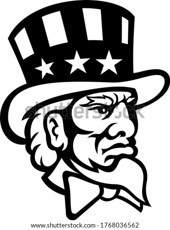 Head of American Symbol Uncle Sam Mascot Black and White Zdjęcia stock ©