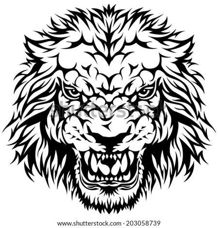 Angry lion head symbol