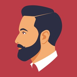 Head of bearded man in profile. Portrait of bearded brunet man. Avatar of stylish businessman for social networks. Abstract male portrait, face side view. Stock vector illustration in flat style