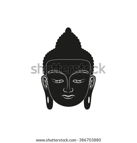 head of buddha simple black
