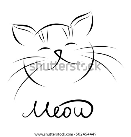 head of cat with hand lettering