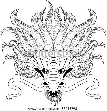 Vector Images, Illustrations and Cliparts: Head of chinese dragon in ...
