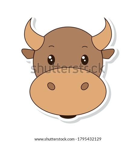 Head of cute cartoon bulI. Sticker Portrait. Colorful vector illustration. Stock fotó ©